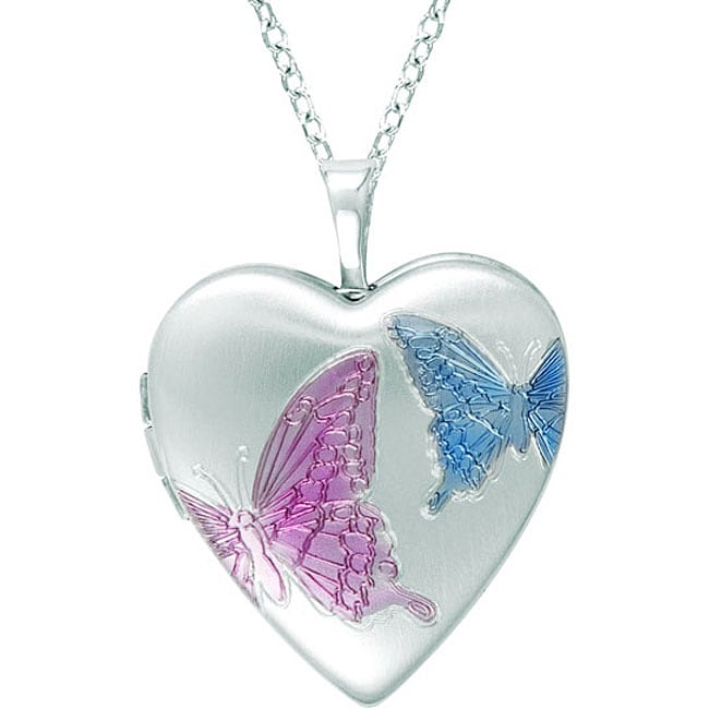 Sterling Silver Heart-shaped Butterfly Locket Necklace ...
