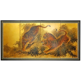 Silk And Wood 36 Inch Plum Tree On Gold Leaf Wall Hanging
