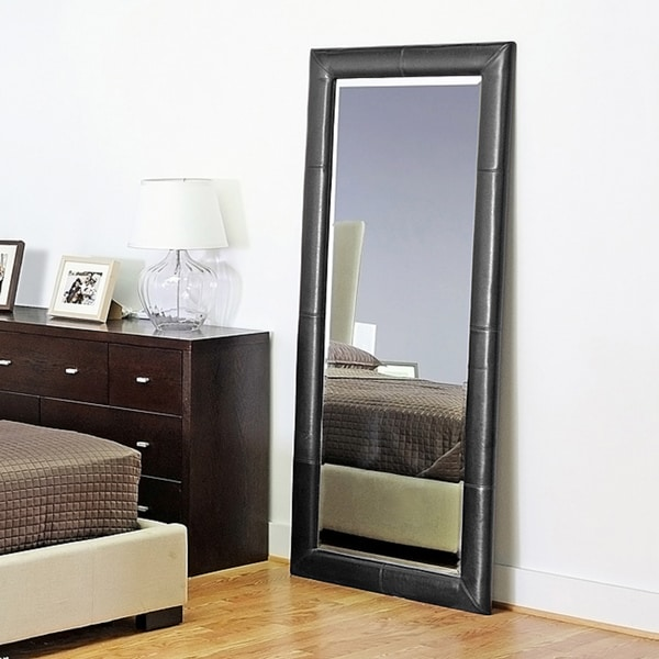Elayne Black Bi Cast Leather Floor Mirror 12058495
