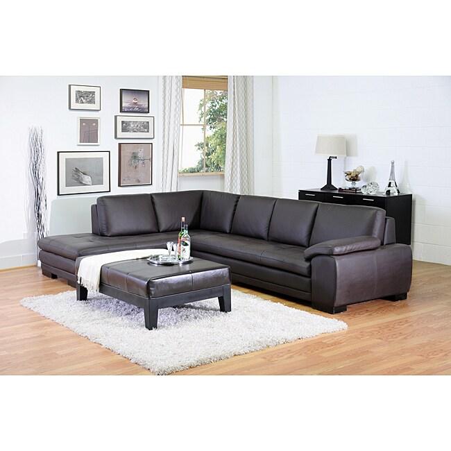 Angela Dark Brown 2 Piece Leather Sectional Sofa
