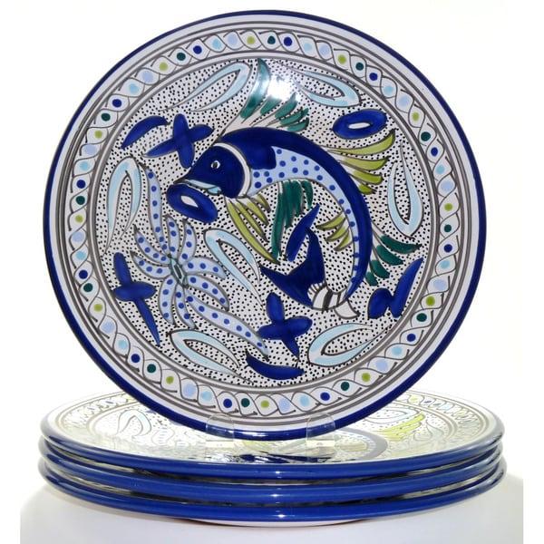 Aqua Fish 4 Piece Dinner Plates Tunisia 12080601