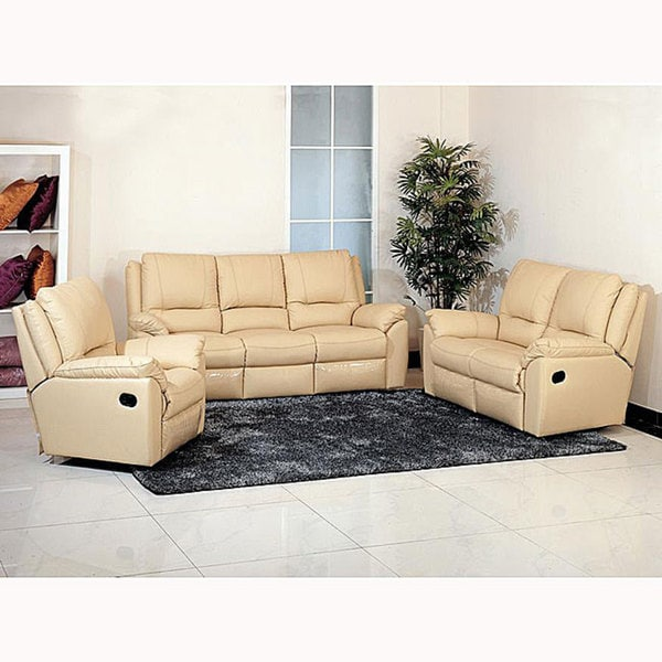 Destiny Cream Leather Reclining Sofa Loveseat And Chair