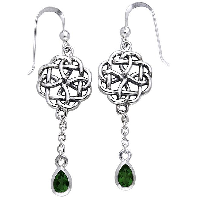 CGC Sterling Silver Celtic Created Emerald Dangle Chain