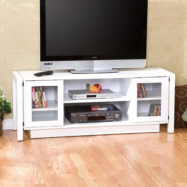 White Tv Stand Media Console 12089023 Overstock Com