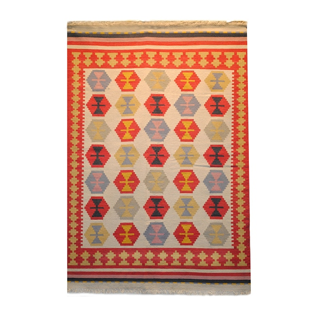 Indo Kilim Ivory Red Wool Cotton Rug 5 5 X 7 9