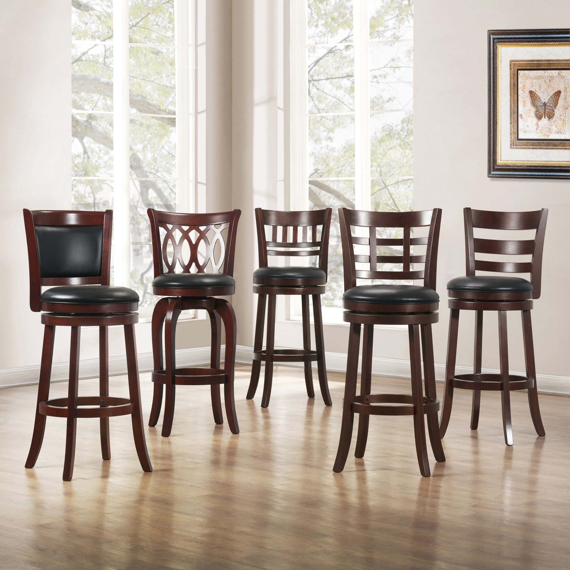 Counter Stools Overstock: TRIBECCA HOME Verona Cherry Swivel 29-inch Barstool