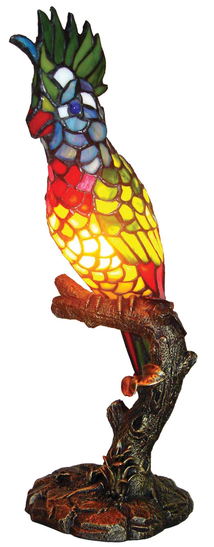 Tiffany Style Multicolor Parrot Accent Lamp