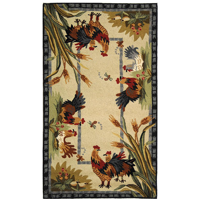 Safavieh Hand-hooked Roosters Ivory Wool Rug (2'9 X 4'9