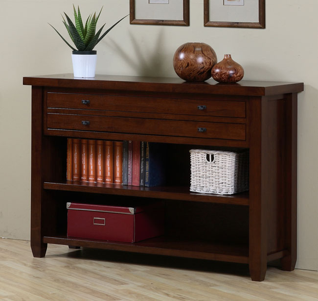 Walnut Cherry Navigator Console Table Overstock Shopping