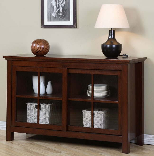 Walnut Cherry Sliding Door Buffet Overstock Shopping Big Discounts on Buffets