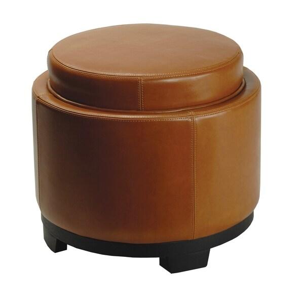 Safavieh Round Storage Tray Saddle Ottoman 12227646