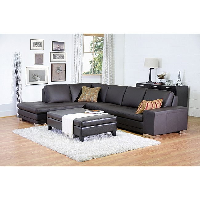 Larry Dark Brown Reverse Sectional Sofa Chaise Set