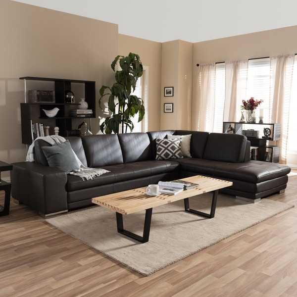 Larry Dark Brown Sectional Sofa Chaise Set 12235204
