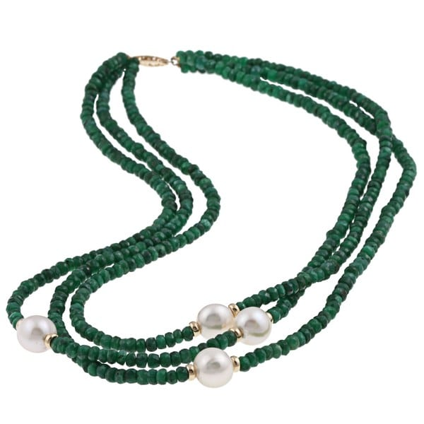 DaVonna 14k Gold 3-row Green Emerald And White FW Pearl