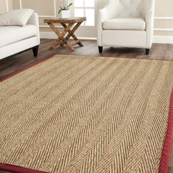 Safavieh Hand Woven Sisal Natural Red Seagrass Rug 9 X