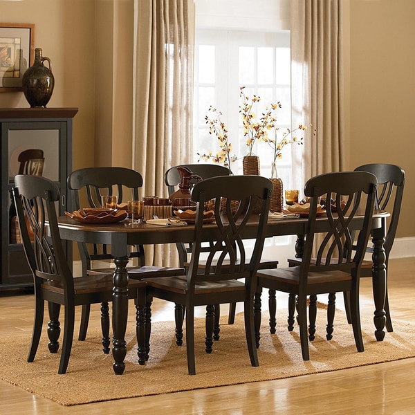 Tribecca Home Mackenzie 7 Piece Country Black Dining Set