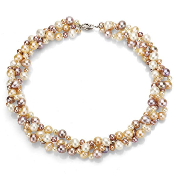 Multi Row Pearl Necklace: DaVonna Silver Multi Pink FW Pearl 3-row Twisted Necklace