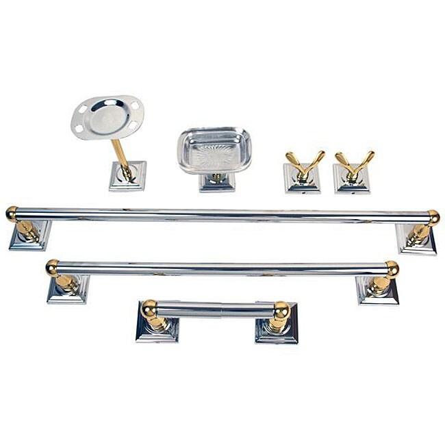 Moen monaco chrome polished brass 7 piece bath accessory - Chrome and brass bathroom accessories ...