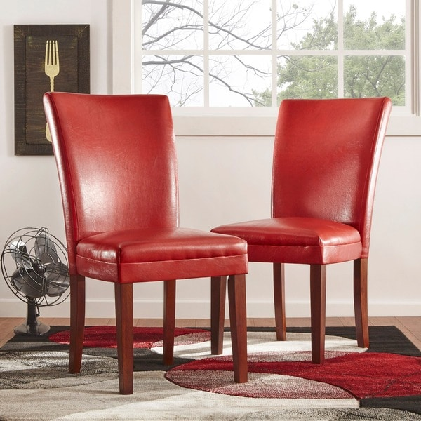 TRIBECCA HOME Charlotte Faux Leather Dining Chairs Red