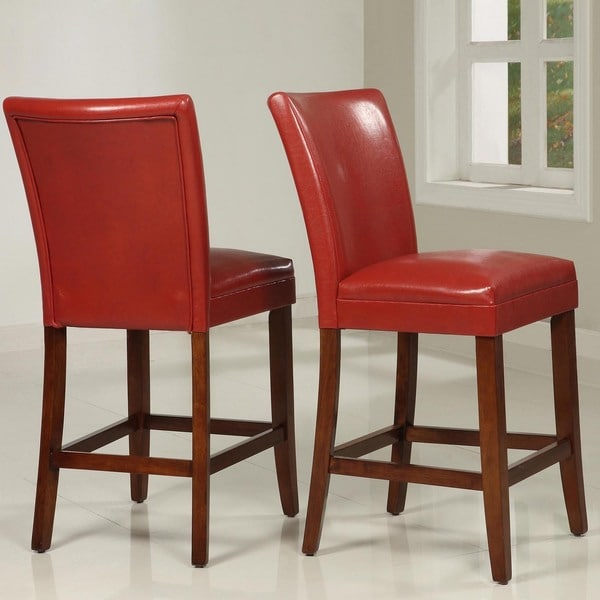 TRIBECCA HOME Charlotte Faux Leather Counter-height Chairs