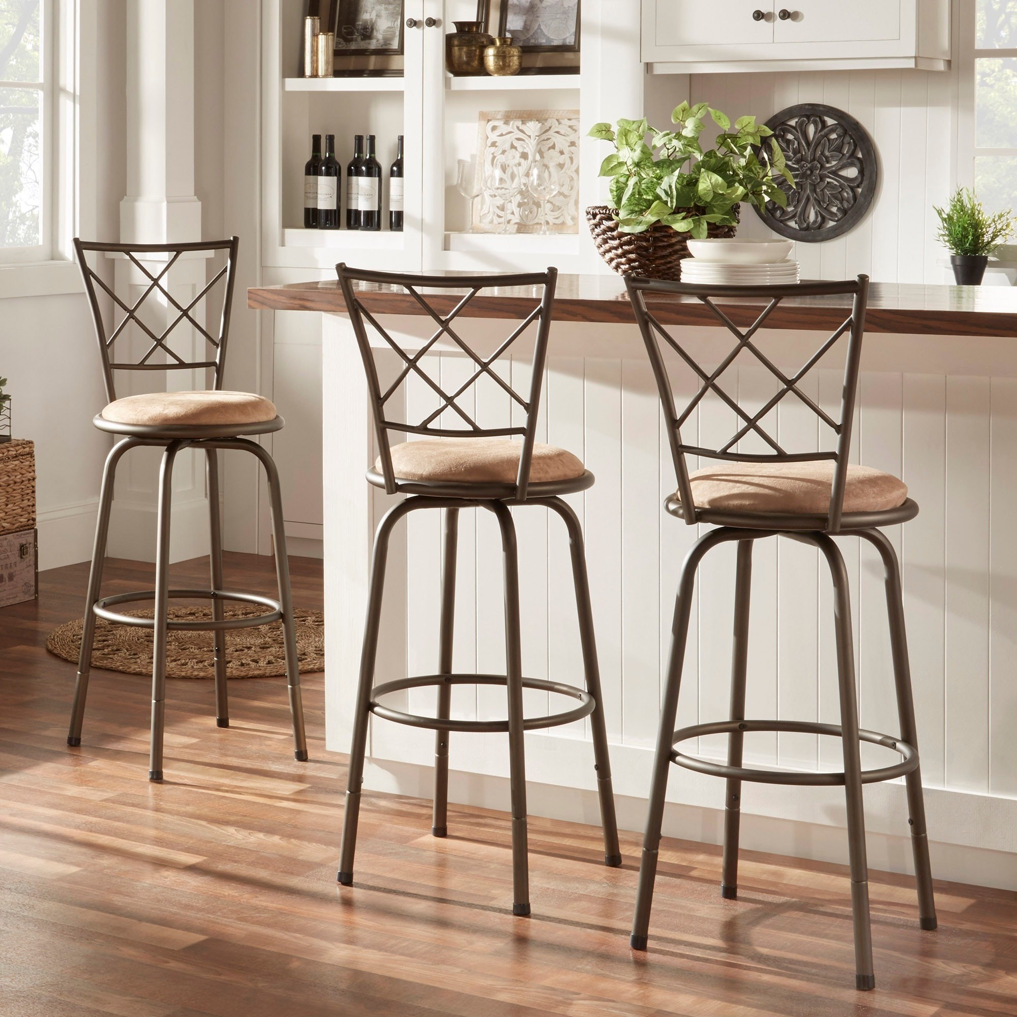 Counter Stools Overstock: TRIBECCA HOME Avalon Quarter Cross Swivel Counter Barstool
