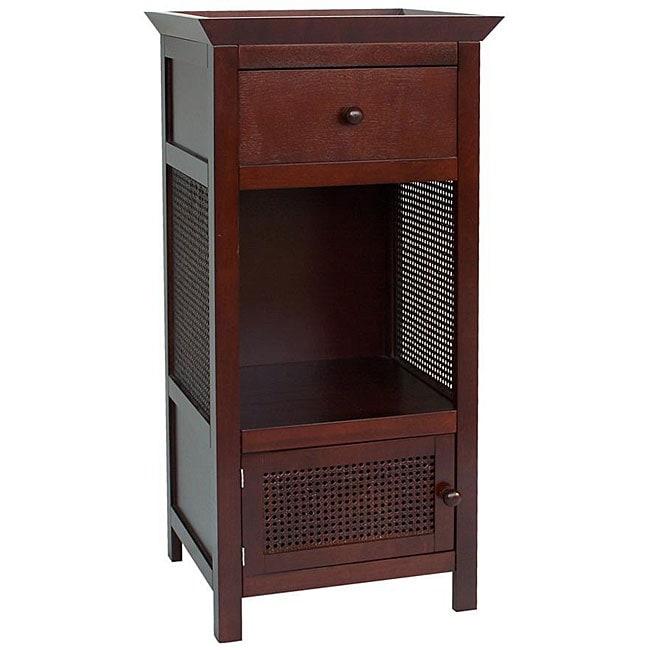 Bathroom Linen Storage Floor Cabinet: Cherry Brown 1 Door Drawer Bathroom Furniture Linen Home