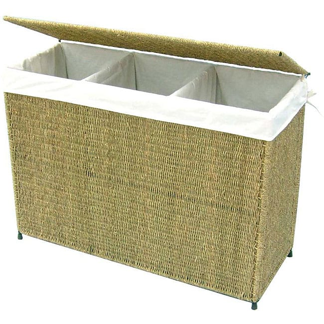 America Basket Company Woven Seagrass Lined 3 Section Full