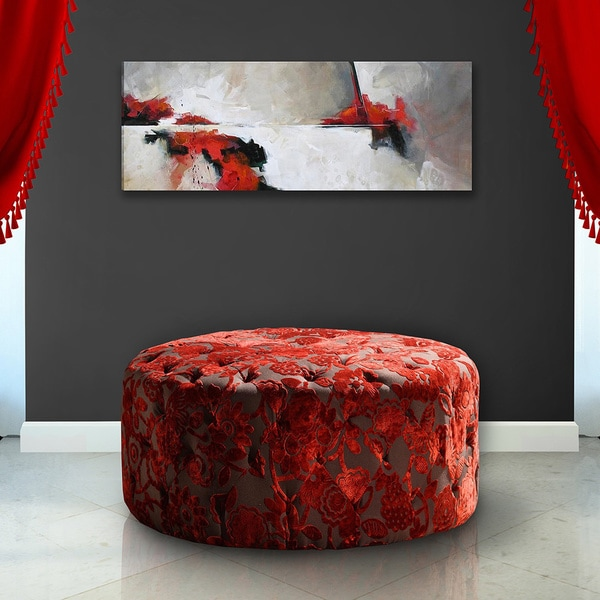 Red Velvet 36 Inch Round Ottoman 12301118 Overstock