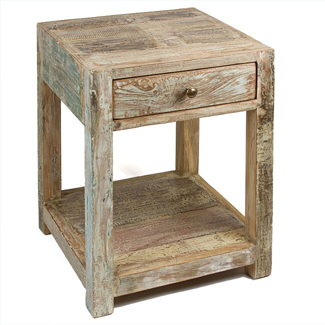 Overstock End Tables: Stripped Teak Side Table (India)