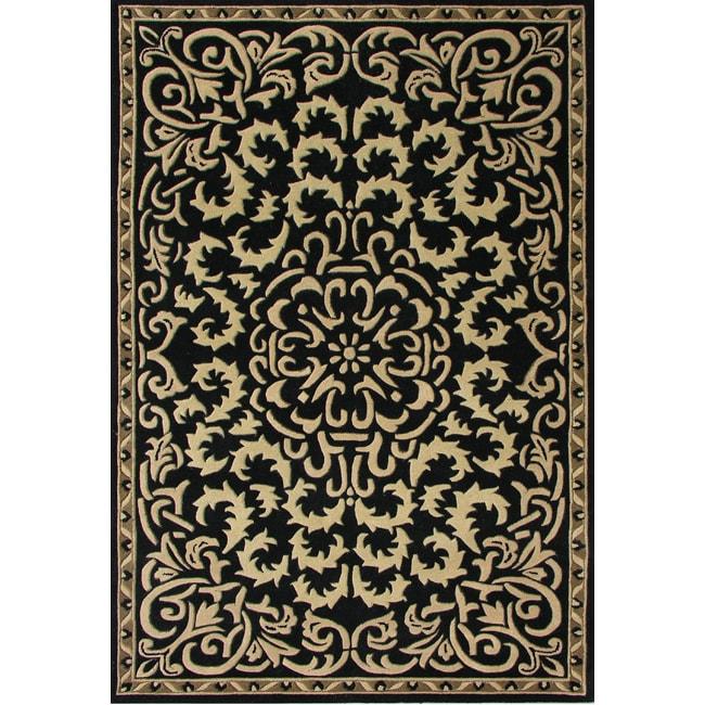 Alliyah Handmade Black New Zealand Blend Wool Rug (10' X 8