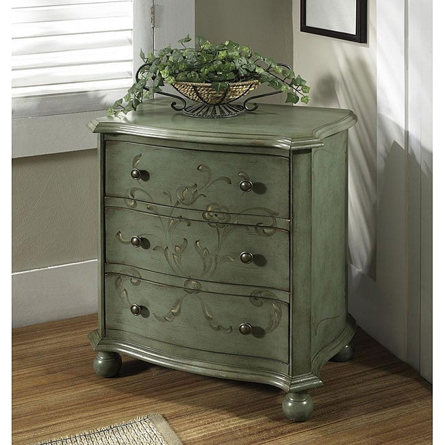 Hand Painted Distressed Aqua Blue Accent Chest 12307360