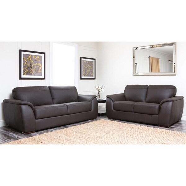 Abbyson Living Ashton Dark Brown Leather Sofa And Loveseat