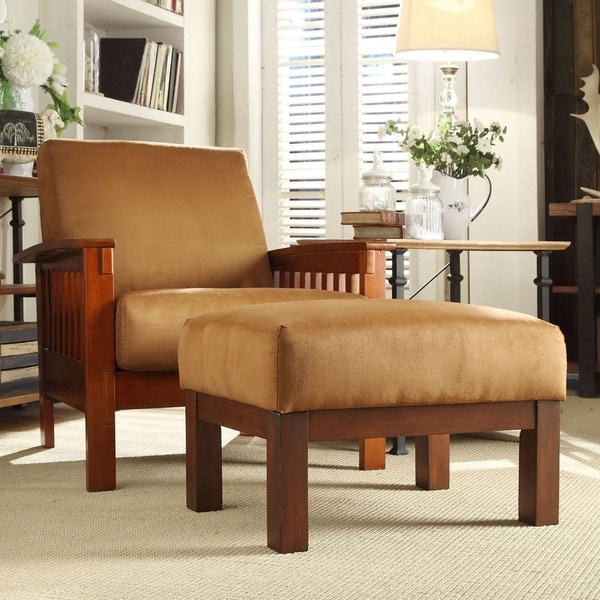 TRIBECCA HOME Hills Mission-style Oak/ Rust Chair And
