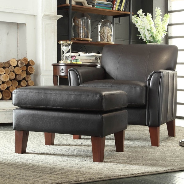 TRIBECCA HOME Uptown Dark Brown Faux Leather Chair And