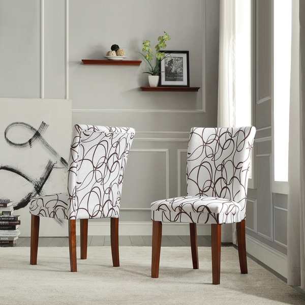 TRIBECCA HOME Chocolate Swirl Print Accent Chairs (Set Of