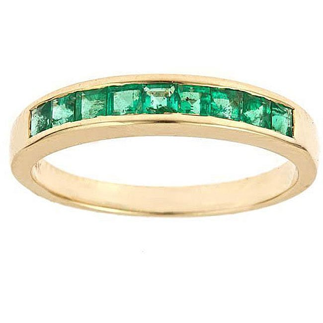 D Yach 14k Yellow Gold Channel Set Emerald Ring