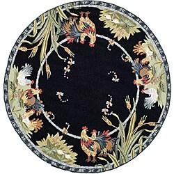 Safavieh Hand Hooked Roosters Black Wool Rug 3 Round