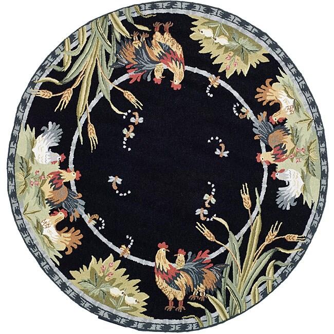 Safavieh Hand-hooked Roosters Black Wool Rug (8' Round