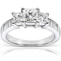 Annello by Kobelli 14k Gold 1 1/2ct TDW Princess Diamond Engagement Ring