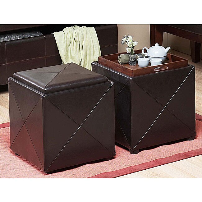 Chocolate Synthetic Leather Storage Cube With Wood Serving
