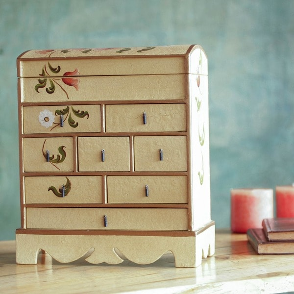 Tulips And Other Flowers Hand Painted Vintage Chest Of