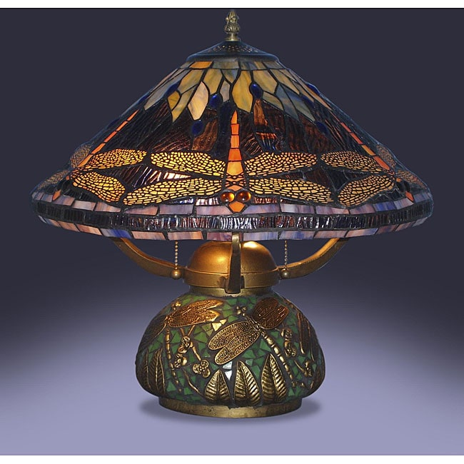 Lamparas Color Glass Led Table Lamp Hand Made Tiffany Desk: Dragonfly Table Lamp Tiffany Style Elegant Stained Glass