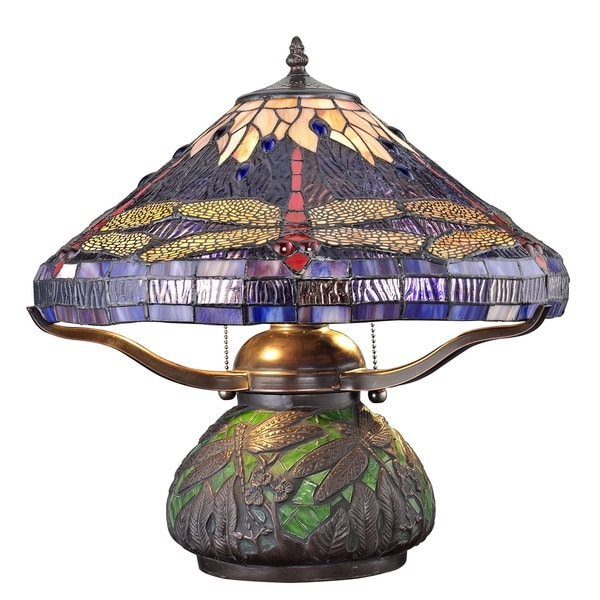 Tiffany Style Dragonfly Table Lamp With Mosaic Base