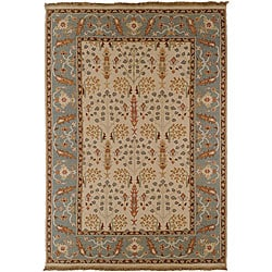 Hand Made Oriental Pattern Blue Ivory Wool Rug 8x10