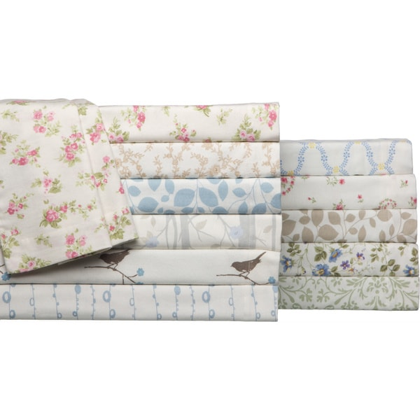 Laura Ashley 4 Piece Flannel Sheet Set Overstock