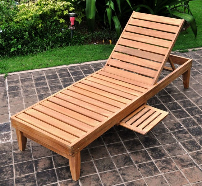 Deluxe Teak Chaise Lounge With Tray 12435815 Overstock