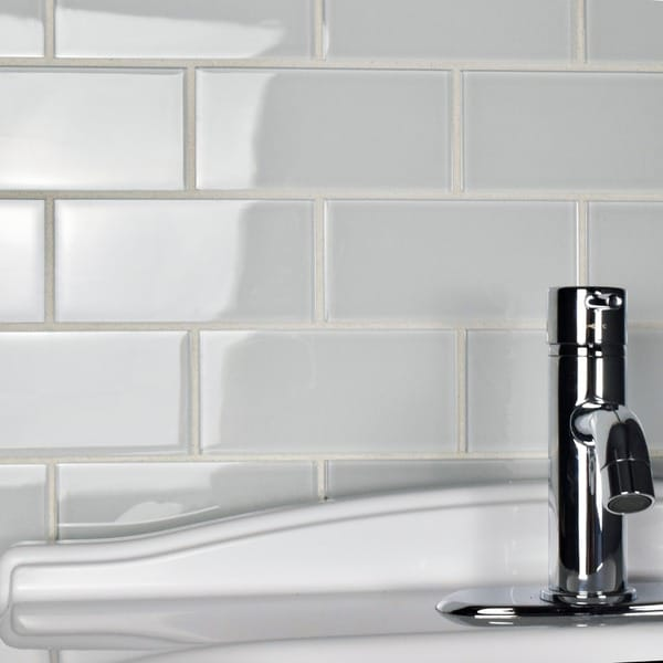 Somertile 3x6 In Reflections Subway Ice White Glass Tile