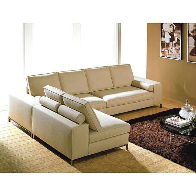 Modular Contemporary 3 Piece Sectional Cream Sofa