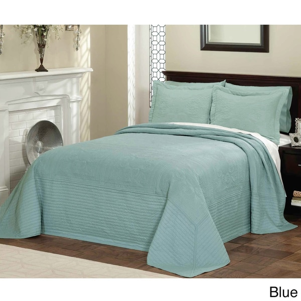 Vibrant Solid Colored Cotton Quilted French Tile Bedspread