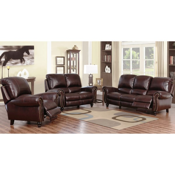 Overstock Living Room Sets: ABBYSON LIVING Madison Premium Grade Leather Pushback